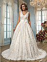 Lan Ting A-line Plus Sizes Wedding Dress - Ivory Court Train V-neck Lace