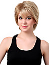 Capless Short Synthetic Mixed Straight Curly Hair Wig Full Bang