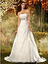 A ライン/プリンセスライン ウェディングドレス アイボリー オーガンザ ストラップレス コート 大きいサイズ