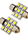 2 st festoon 1.5W 31mm 9x3528SMD 100-120LM 6000K Cool White Light LED Bulb (12V)