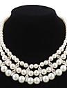 Elegante perla d\imitazione filo con la collana di strass Donna