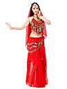 Belly Dance Outfits Women\'s Performance Chiffon Beading / Coins / Sequins 3 Pieces Hip Scarf / Top / Skirt