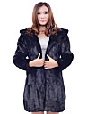 Long Sleeve Hooded Rabbit Fur Office/Casual Coat