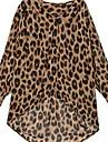 Women\'s Leopard Animal Print Blouse Long Sleeve