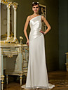 Lan Ting Sheath/Column Plus Sizes Wedding Dress - Ivory Sweep/Brush Train One Shoulder Chiffon/Stretch Satin