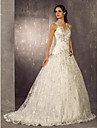 Lanting Bride A-line Petite / Plus Sizes Wedding Dress-Sweep/Brush Train One Shoulder Lace / Satin