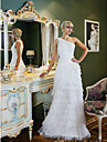 Sheath/Column Plus Sizes Wedding Dress - Ivory Sweep/Brush Train One Shoulder Chiffon