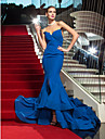 Military Ball/Formal Evening Dress - Royal Blue Plus Sizes Trumpet/Mermaid Strapless Sweep/Brush Train Chiffon