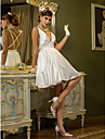 LAN TING BRIDE A-line Wedding Dress - Reception Beautiful Back Short / Mini V-neck Stretch Satin with Draped