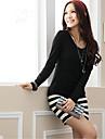 Women\'s Mini Dress Stripe Long Sleeve