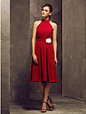 Knee-length Chiffon Bridesmaid Dress - Ruby Plus Sizes / Petite A-line High Neck