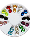 24PCS 12-Color Glitter Oval Rhinestones Nail Art Dekorationer