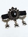 Black Spider Gothic Lolita Broche com Gemstone Artificial