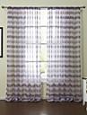 (Two Panels)Elegant Liscio Lavendar Stripe Sheer Curtain