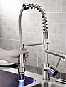 Sprinkle® Kitchen Faucets  ,  Contemporary  with  Brushed Single Handle One Hole  ,  Feature  for LED / Centerset / Pull out