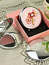 Personlig gåva Flower Style Pink Chrome Compact Mirror