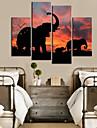 Horloge murale moderne de modele d\'elephant de style dans 4pcs toile