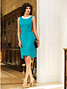 Cocktail Party / Holiday Dress - Jade Plus Sizes / Petite Sheath/Column Jewel Knee-length Chiffon