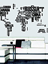 Letters Map Of World Wall Decals Removable Wall Stickers