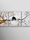 Hand Painted Oil Painting Landscape Blue Tree with Stretched Frame Set of 3 Ready to Hang
