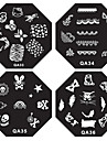 1PCS Nail Art Stamp Stamping Image Template Plate QA Series NO.1-44(Assorted Pattern)