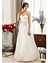 Lan Ting A-line Plus Sizes Wedding Dress - Ivory Floor-length Sweetheart Lace/Organza