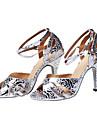 Kvinnors Shining Läder Print Sandaler Latin Dansskor