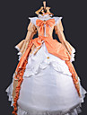Inspired by Vocaloid Kagamine Rin Video Game Cosplay Costumes Cosplay Suits / Dresses Patchwork White / Orange Dress / Headband / Necklace
