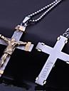 Personlig Gift rostfritt stål smycken Jesus kors formade Graverade hängande halsband smycken med 60cm Kedja