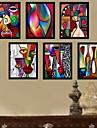 Цвет абстрактного искусства Мультфильм подставил Печать холст Набор из 6