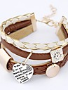 Cortical Bracelet Multilayer European and American Fashion  Simple Metal Heart Pendant Bracelet