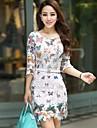 Women\'s Butterfly Print White Lace Mini Dress, Long Sleeve Round Neck