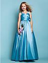Floor-length Taffeta Junior Bridesmaid Dress - Pool A-line / Princess Straps