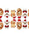 12PCS Mini Pet Hundar med julen hatt Mönster Luminous Nail Art Stickers