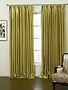 Two Panels Modern Solid Gold Living Room Polyester Panel Curtains Drapes
