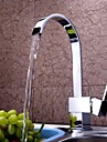 Contemporain Grand / Haut Arc Montage Cascade with  Soupape ceramique Mitigeur un trou for  Chrome , Robinet de Cuisine