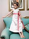 A-line prințesă ceai lungime floare fată rochie - satin fără mâneci gât bijuterie cu panglică de lan ting bride®