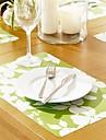 Vita blommor Mönstrad Table Mat för middag, 4 st per set, L42cm x B 28cm