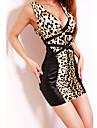 De las mujeres Corte Bodycon Vestido Sexy Leopardo Mini Escote en V Profunda Mezclas de Algodon