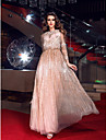 Prom / Formal Evening / Military Ball Dress - Plus Size / Petite Sheath/Column Bateau Floor-length Tulle