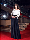 Formal Evening/Prom/Military Ball Dress - Multi-color Plus Sizes Sheath/Column Cowl Sweep/Brush Train Stretch Satin