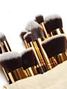 Professionella makeupborstar med guldfärgat skaft och påse (10 st)