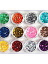 12-Color Plast Twinkle Nail Art Dekorativa Mini Wafers