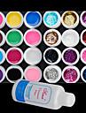 25st Mixs Color UV Color Gel binnen 12 Pure 12 Glitter Hexagon Sheet + Cleanser Plus (willekeurige kleur)