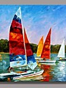 Hand Painted Boat Landscape  Oil Painting by Knife with Stretched Frame Ready to Hang