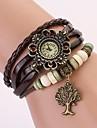 c & d äkta läder vintage klocka, livets träd hängande armband armbandsur xk-112