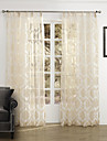 Two Panels Country Floral / Botanical Beige Bedroom Polyester Sheer Curtains Shades