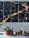 City Lights Clock in Canvas 5pcs