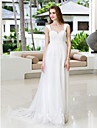 LAN TING BRIDE A-line Wedding Dress - Classic & Timeless Chic & Modern Simply Sublime Court Train Straps Chiffon Tulle with Appliques