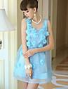 Women\'s Beach A Line Dress,Solid Deep U Above Knee Sleeveless Blue Polyester / Spandex Summer